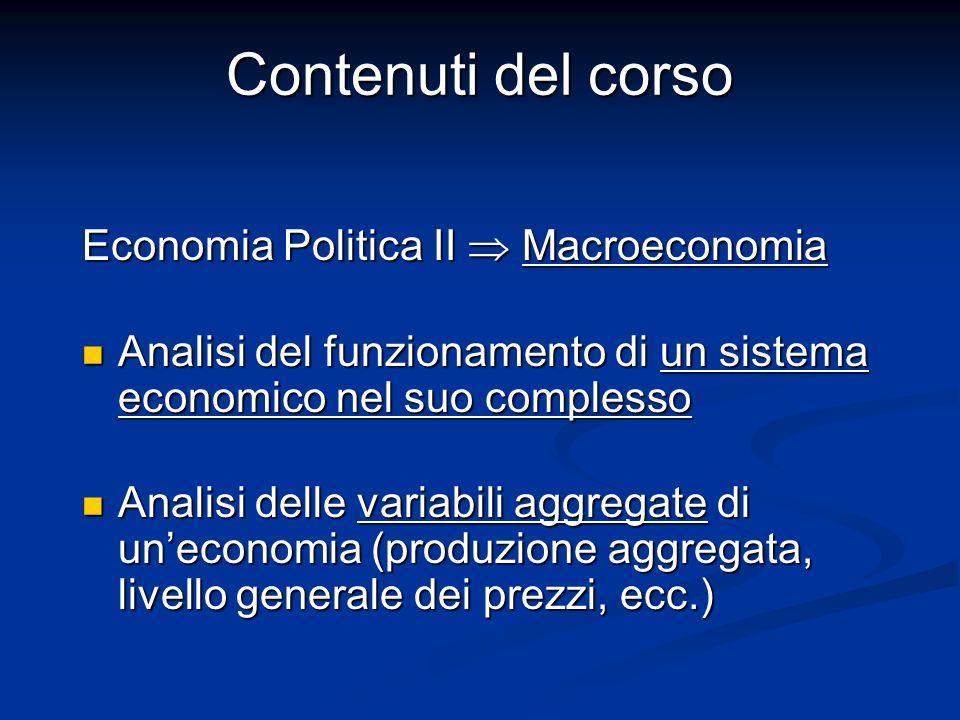 Contenuti del corso Economia Politica II  Macroeconomia