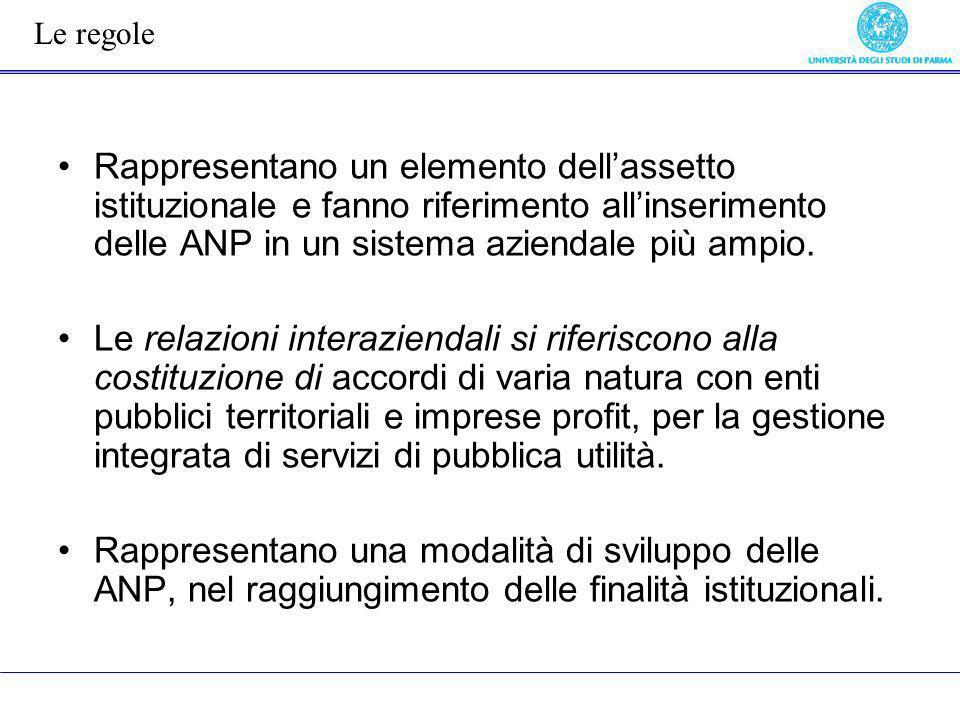 Le regole Rappresentano un elemento dell'assetto istituzionale e fanno riferimento all'inserimento delle ANP in un sistema aziendale più ampio.