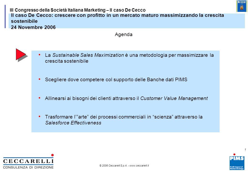 Il caso De Cecco: crescere con profitto in un mercato maturo massimizzando la crescita sostenibile 24 Novembre 2006