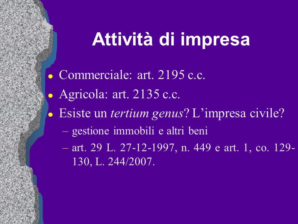 Attività di impresa Commerciale: art. 2195 c.c.