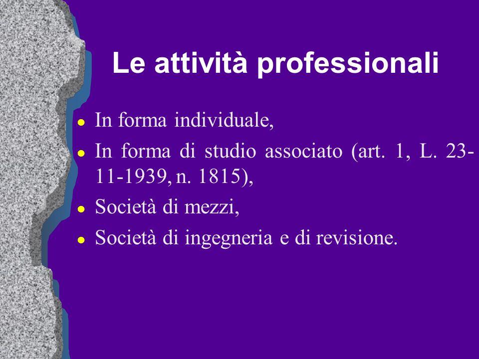 Le attività professionali
