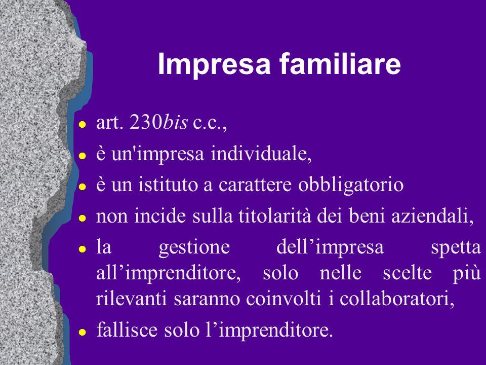 Impresa familiare art. 230bis c.c., è un impresa individuale,