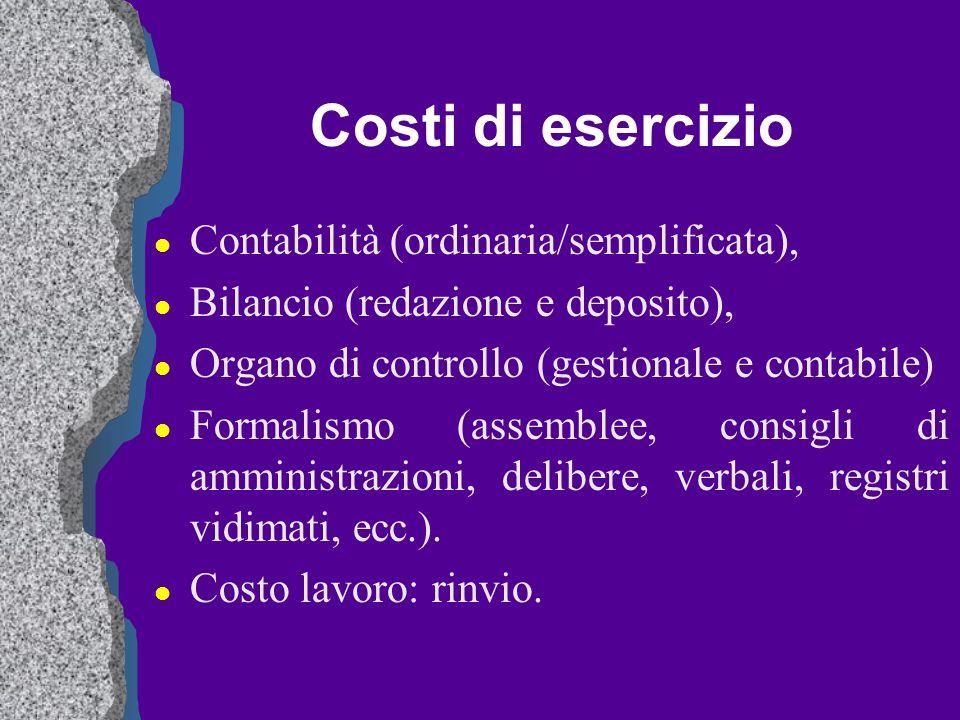 Costi di esercizio Contabilità (ordinaria/semplificata),