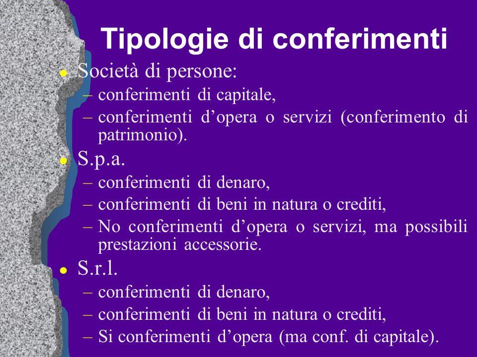 Tipologie di conferimenti