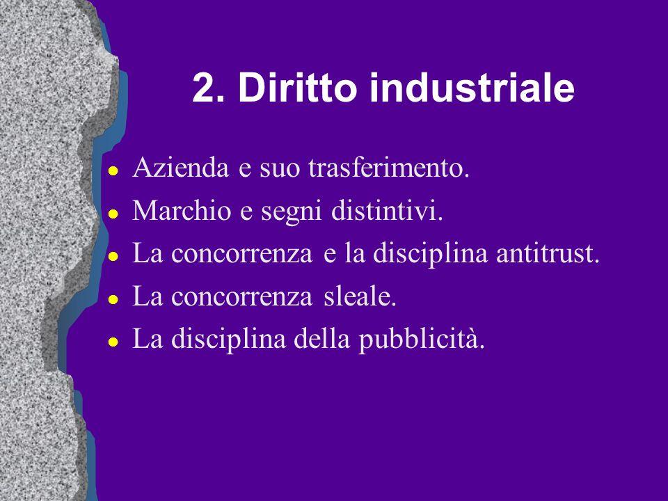 2. Diritto industriale Azienda e suo trasferimento.