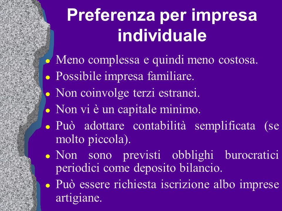 Preferenza per impresa individuale