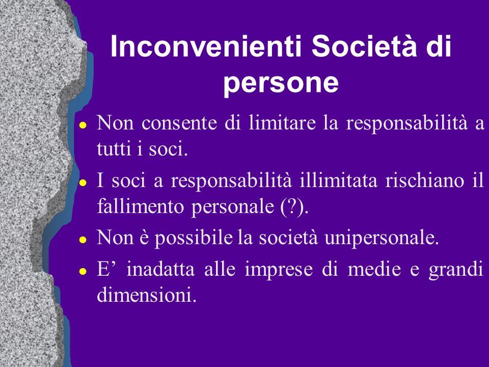 Inconvenienti Società di persone