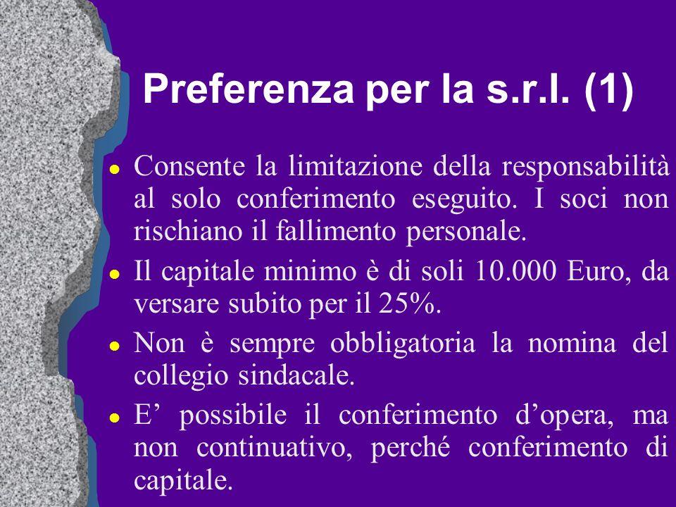 Preferenza per la s.r.l. (1)