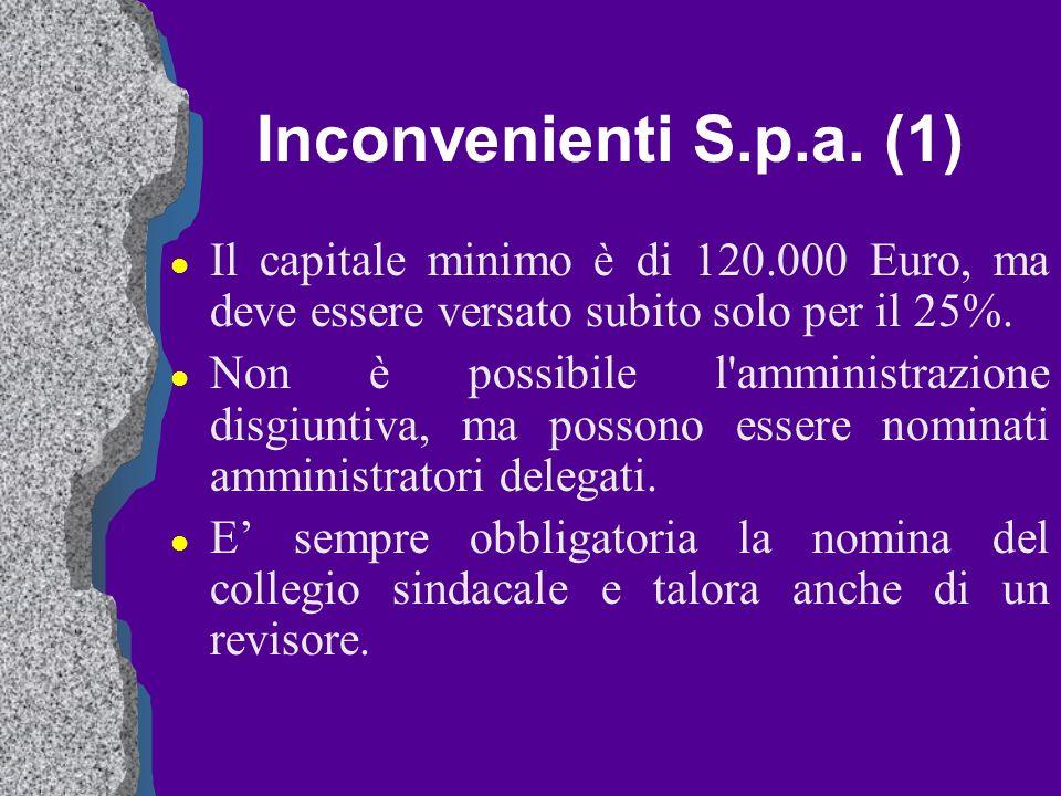 Inconvenienti S.p.a. (1) Il capitale minimo è di 120.000 Euro, ma deve essere versato subito solo per il 25%.