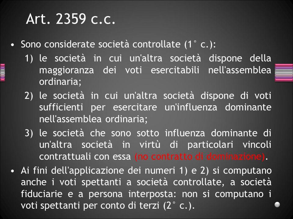 Art. 2359 c.c. Sono considerate società controllate (1° c.):