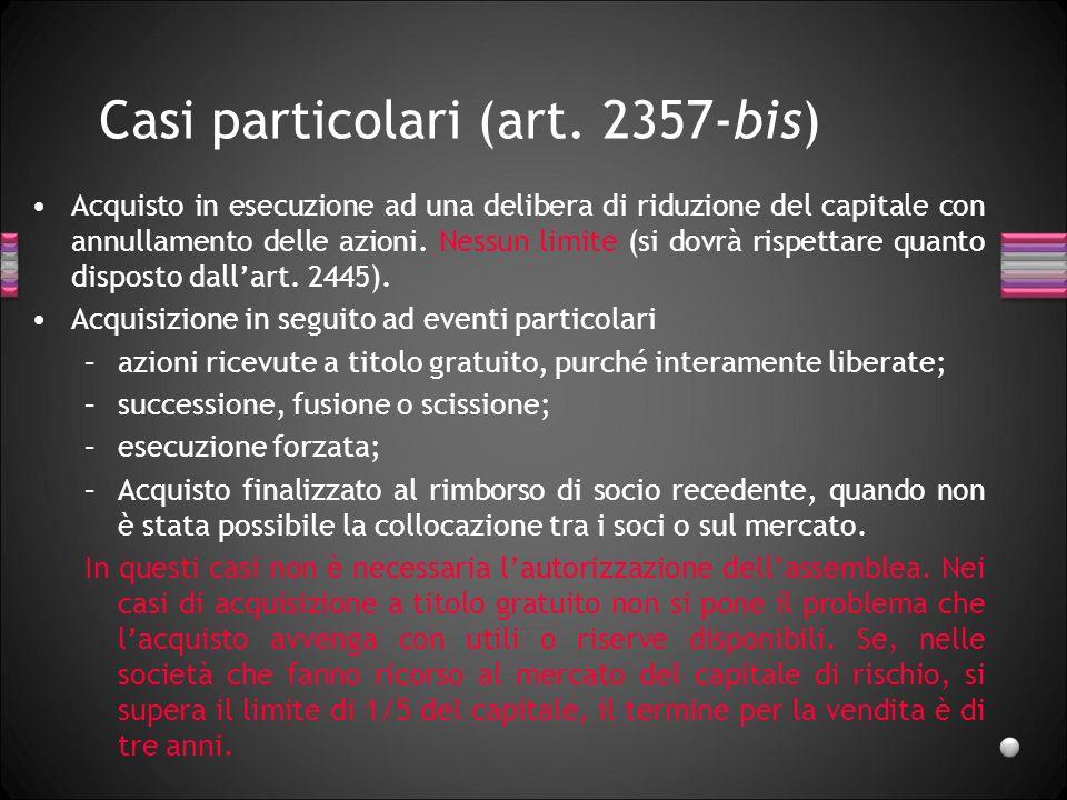 Casi particolari (art. 2357-bis)