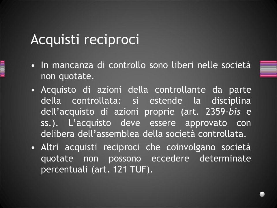 Acquisti reciproci In mancanza di controllo sono liberi nelle società non quotate.