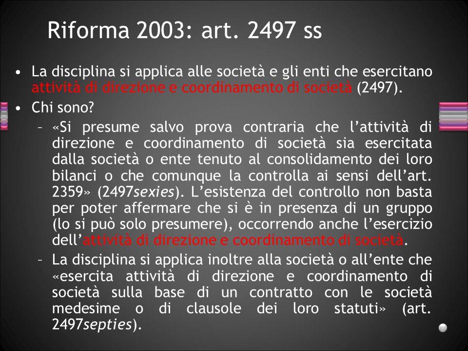 Riforma 2003: art. 2497 ss 27/03/2017.