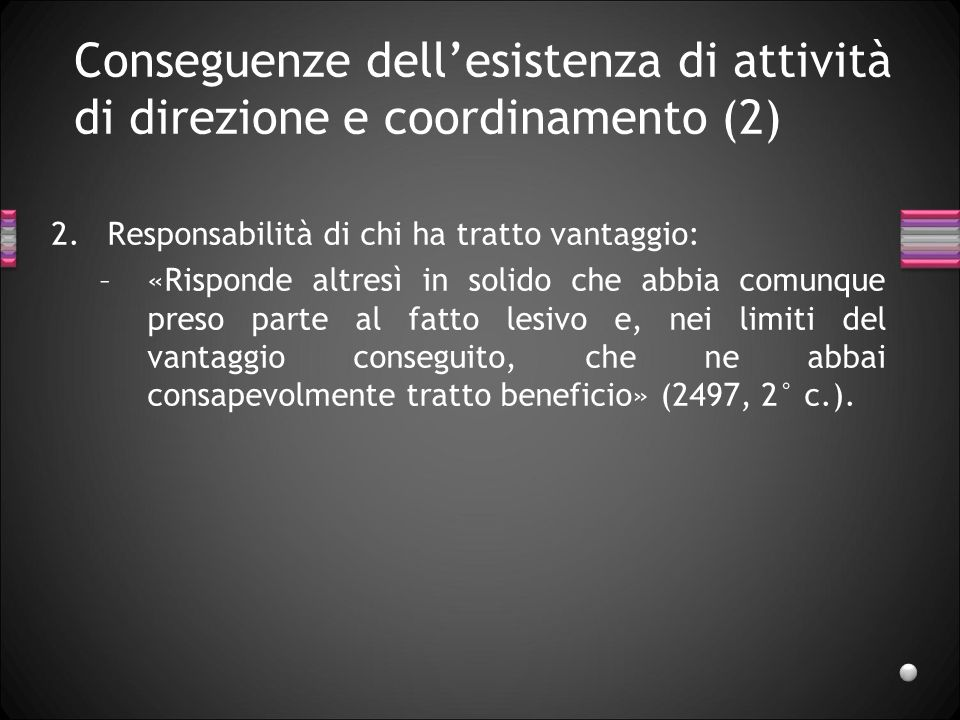 Conseguenze dell'esistenza di attività di direzione e coordinamento (2)