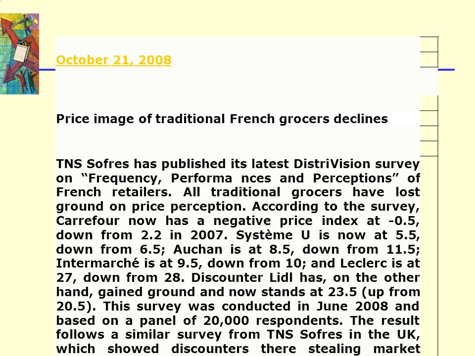 October 21, 2008 Price image of traditional French grocers declines.