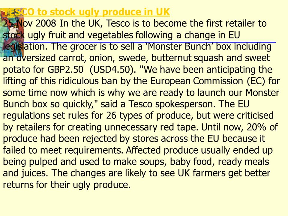 TESCO to stock ugly produce in UK