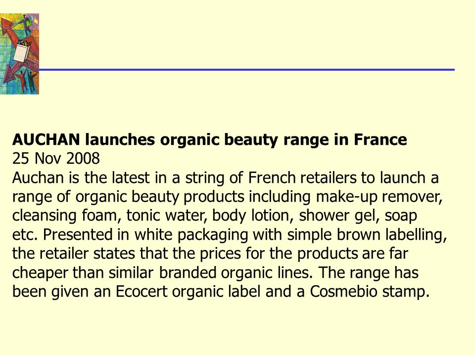 AUCHAN launches organic beauty range in France