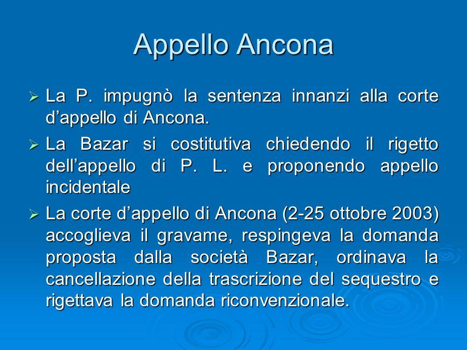 Appello Ancona La P. impugnò la sentenza innanzi alla corte d'appello di Ancona.