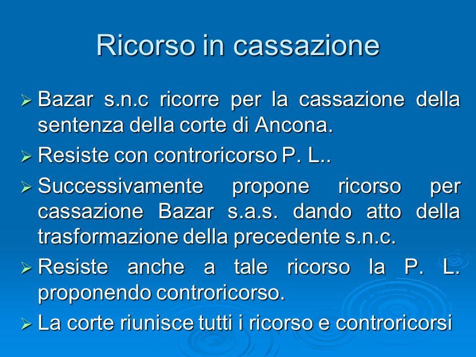 Ricorso in cassazione Bazar s.n.c ricorre per la cassazione della sentenza della corte di Ancona. Resiste con controricorso P. L..