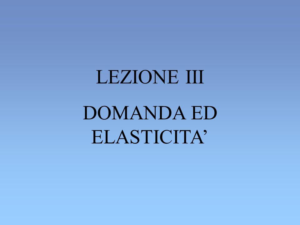 DOMANDA ED ELASTICITA'