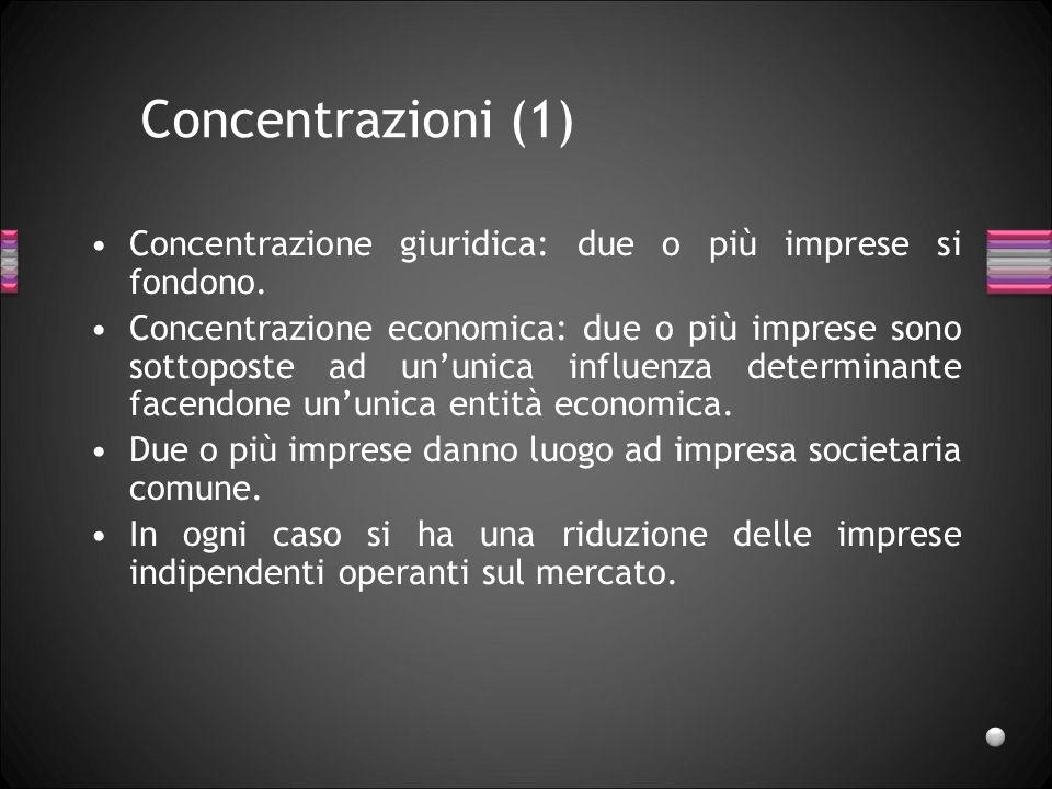 Concentrazioni (1) Concentrazione giuridica: due o più imprese si fondono.