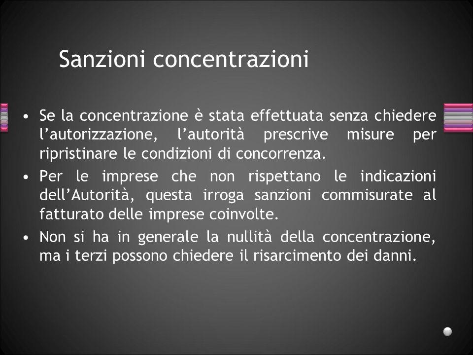 Sanzioni concentrazioni