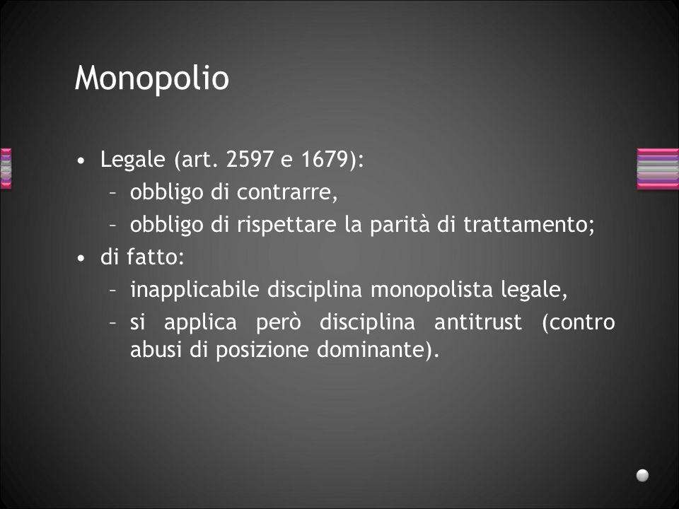Monopolio Legale (art. 2597 e 1679): obbligo di contrarre,
