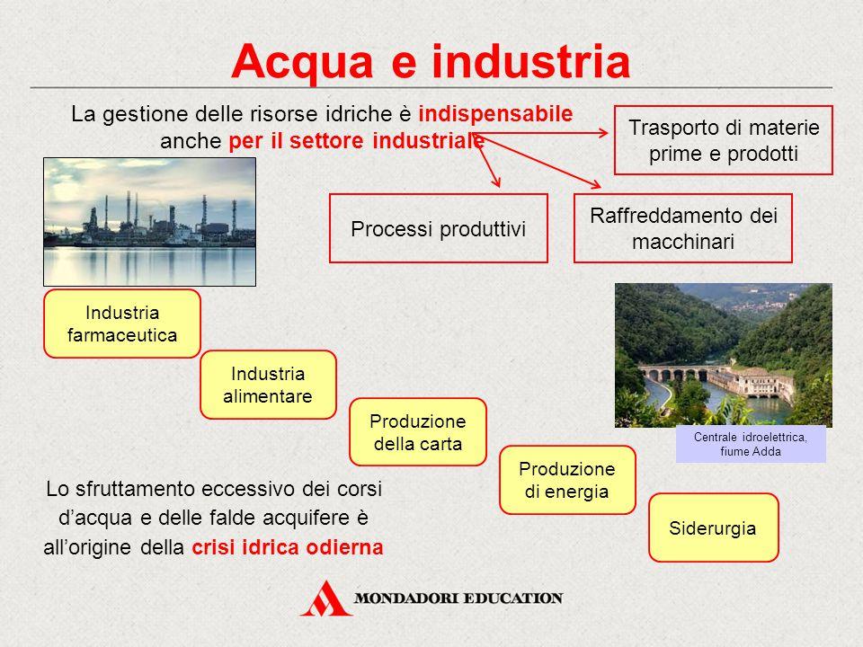 Acqua e industria La gestione delle risorse idriche è indispensabile anche per il settore industriale.