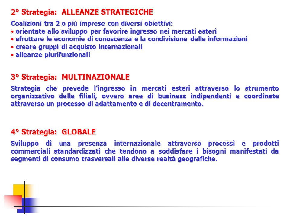 2° Strategia: ALLEANZE STRATEGICHE