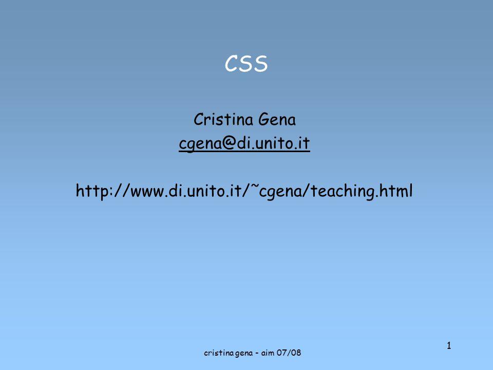 CSS Cristina Gena cgena@di.unito.it