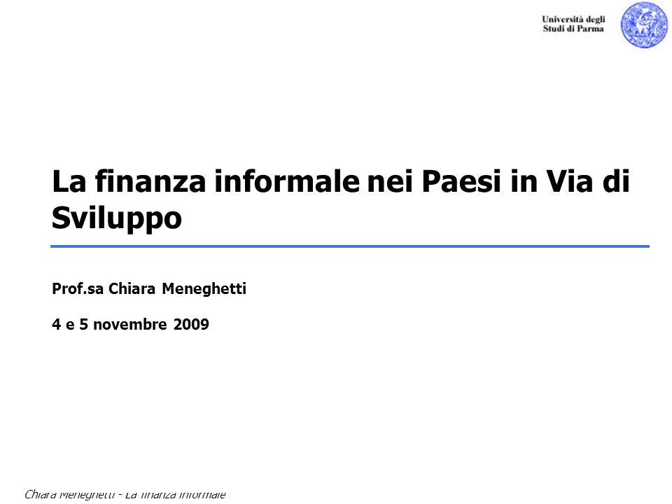 La finanza informale nei Paesi in Via di Sviluppo Prof