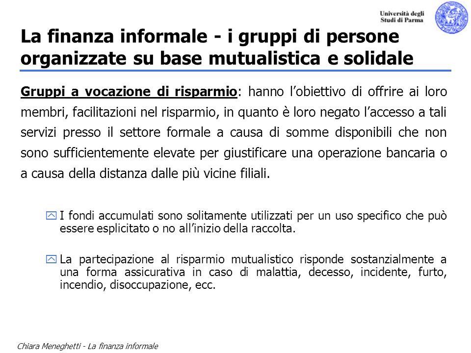 La finanza informale - i gruppi di persone organizzate su base mutualistica e solidale