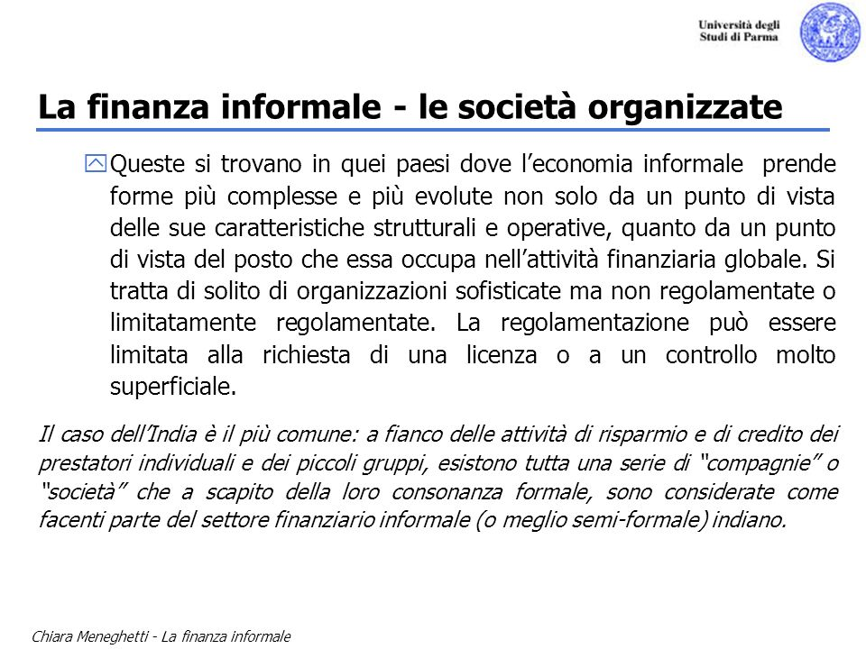 La finanza informale - le società organizzate