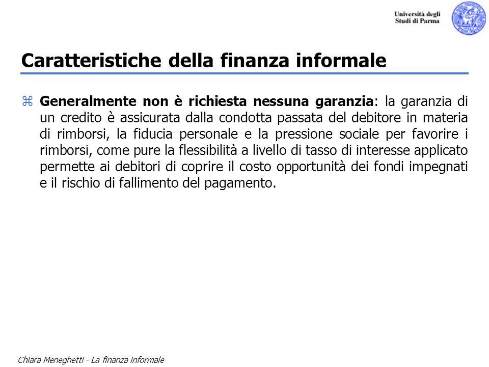 Caratteristiche della finanza informale