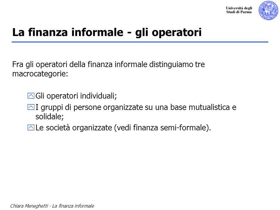 La finanza informale - gli operatori
