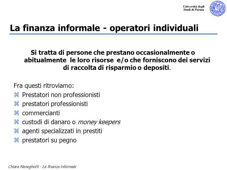 La finanza informale - operatori individuali
