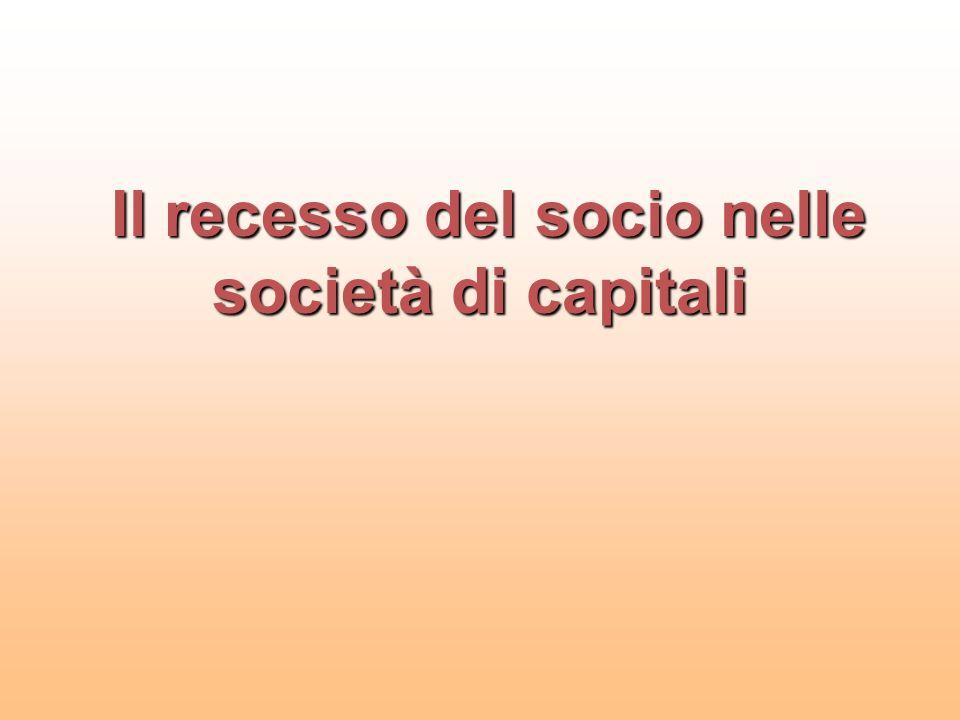 Il recesso del socio nelle società di capitali