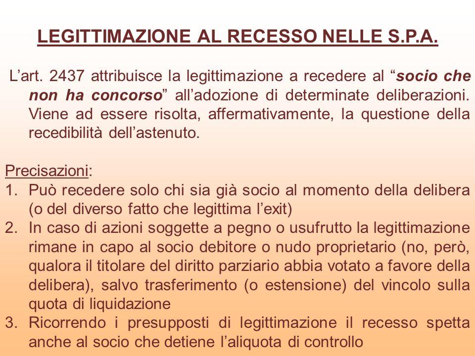 LEGITTIMAZIONE AL RECESSO NELLE S.P.A.