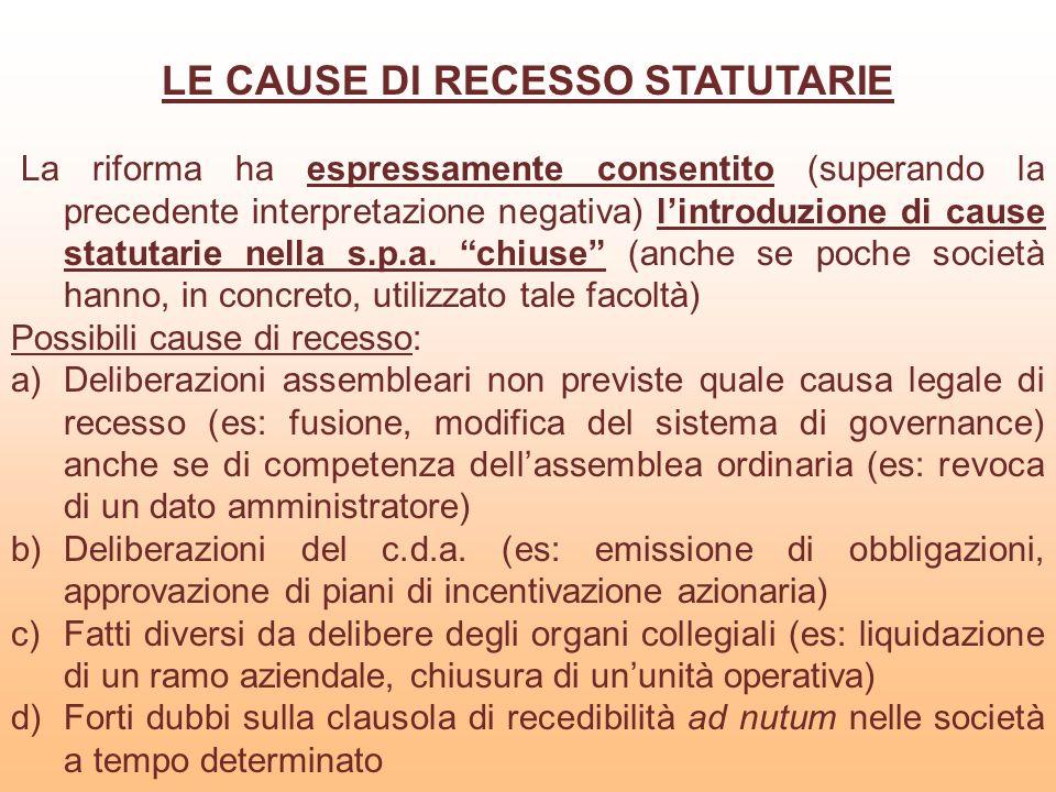 LE CAUSE DI RECESSO STATUTARIE