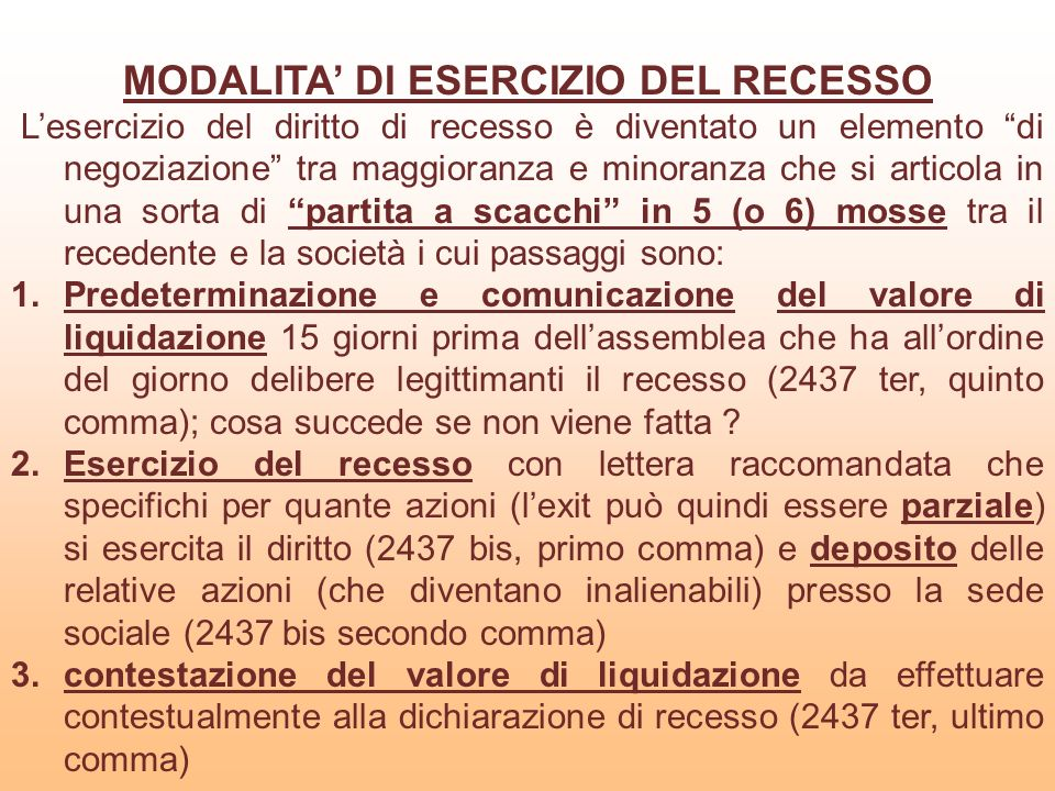 MODALITA' DI ESERCIZIO DEL RECESSO