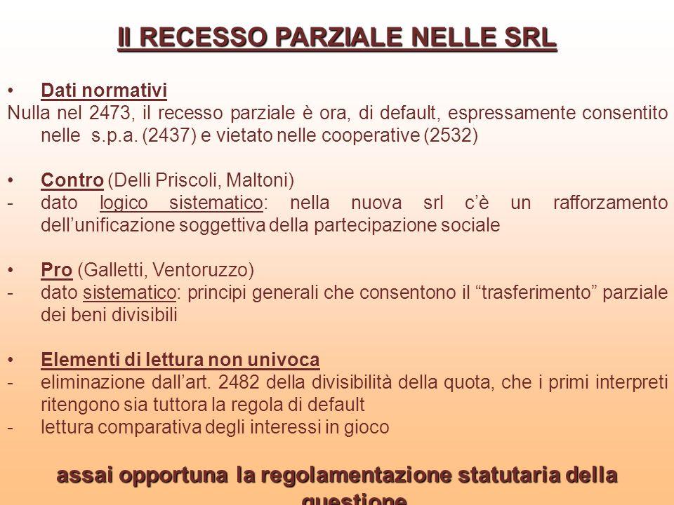 Il RECESSO PARZIALE NELLE SRL