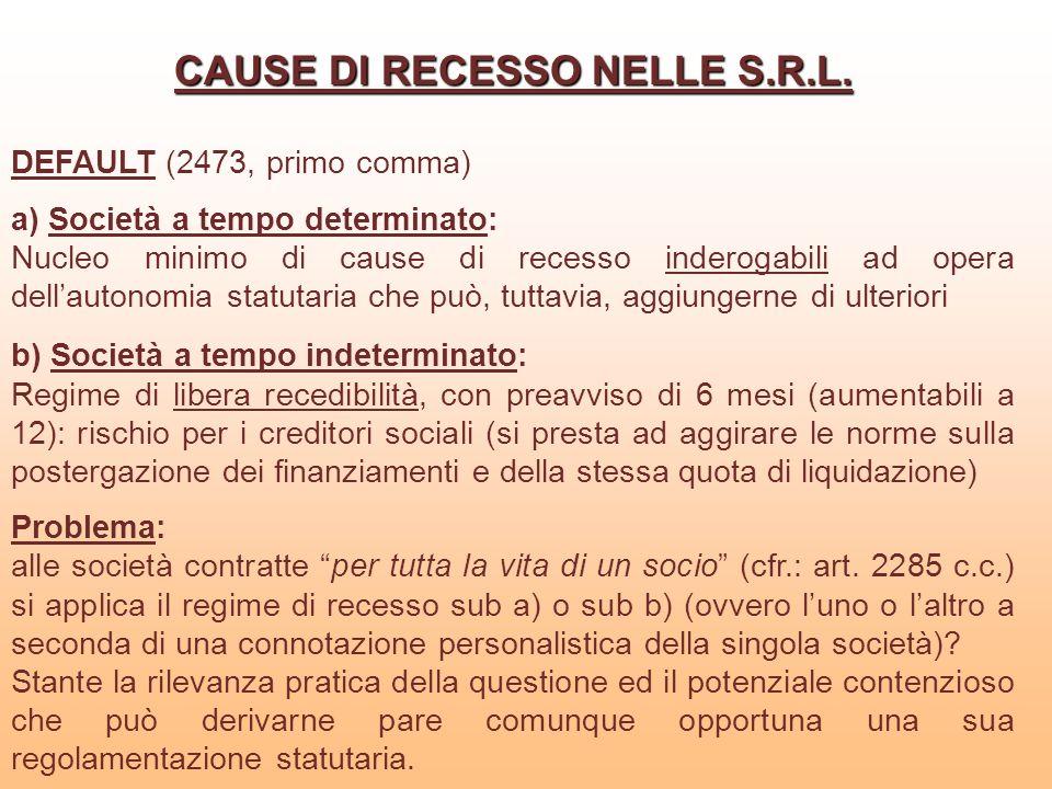 CAUSE DI RECESSO NELLE S.R.L.