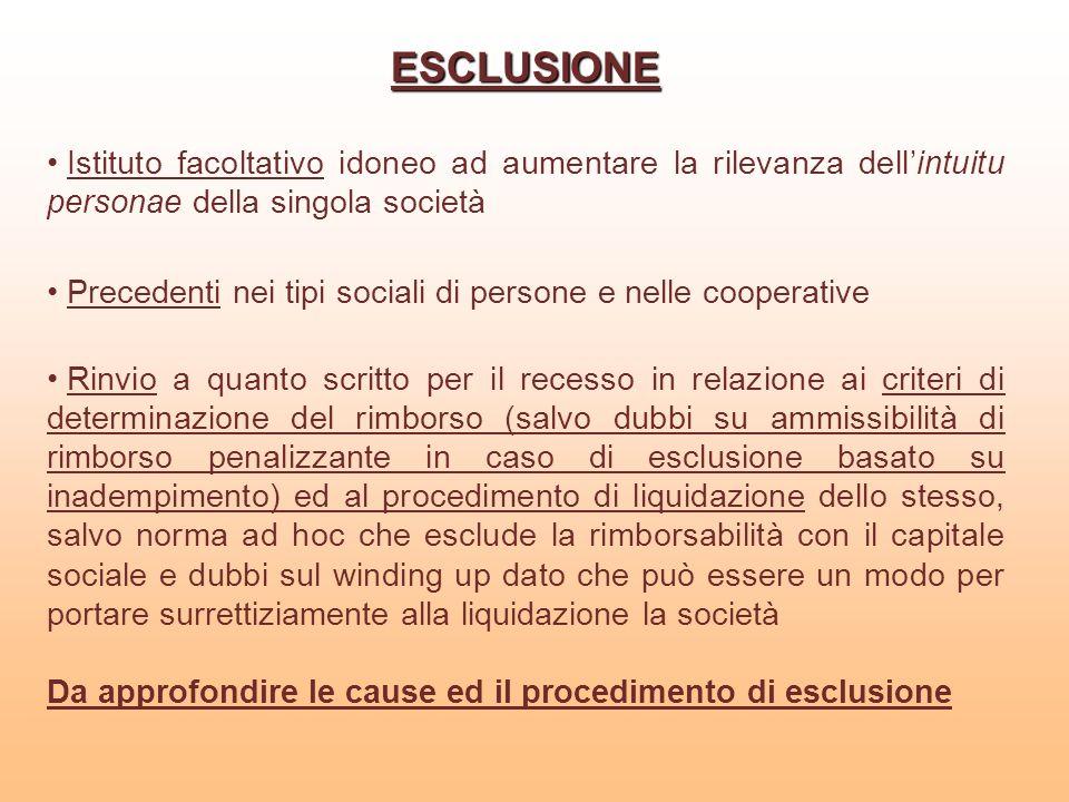 ESCLUSIONEIstituto facoltativo idoneo ad aumentare la rilevanza dell'intuitu personae della singola società.