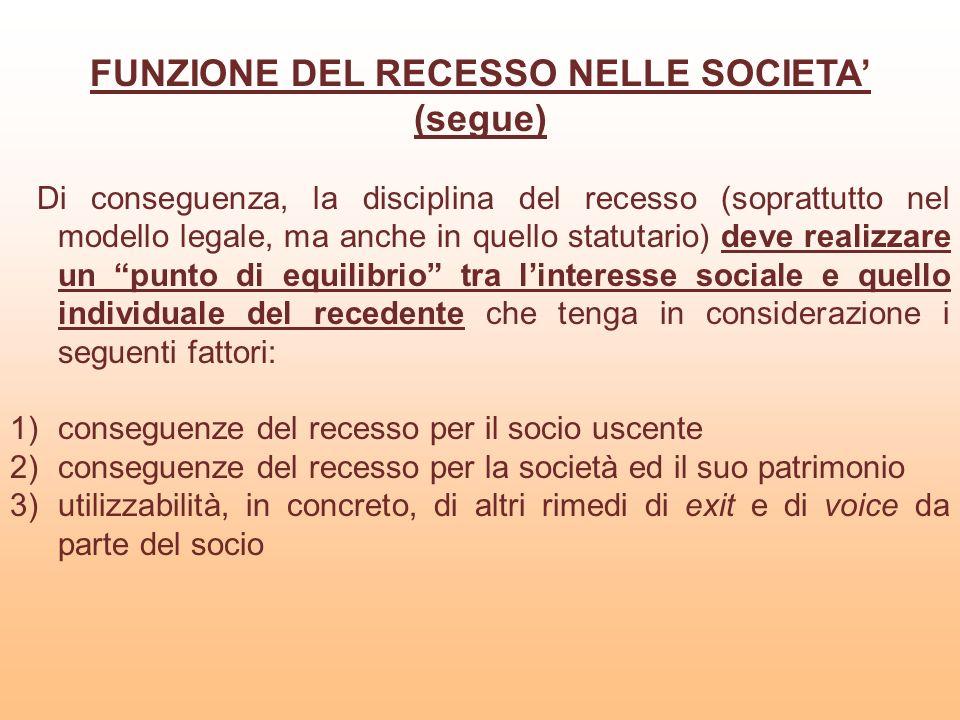 FUNZIONE DEL RECESSO NELLE SOCIETA'