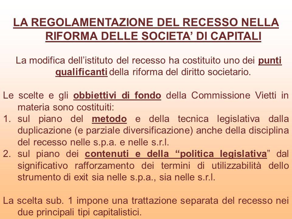 LA REGOLAMENTAZIONE DEL RECESSO NELLA RIFORMA DELLE SOCIETA' DI CAPITALI