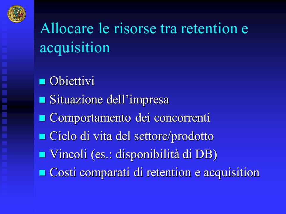 Allocare le risorse tra retention e acquisition