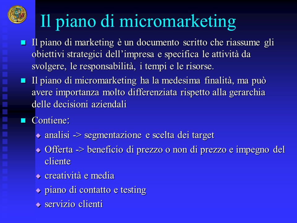 Il piano di micromarketing