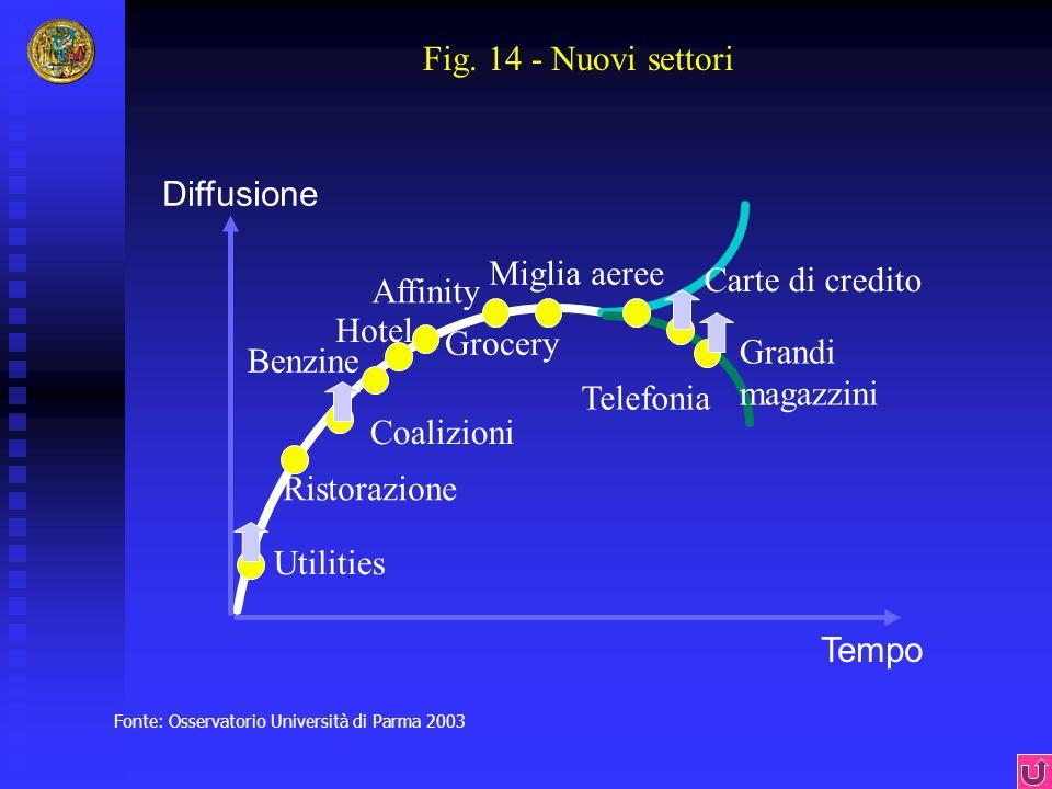Fig. 14 - Nuovi settori Diffusione Miglia aeree Carte di credito