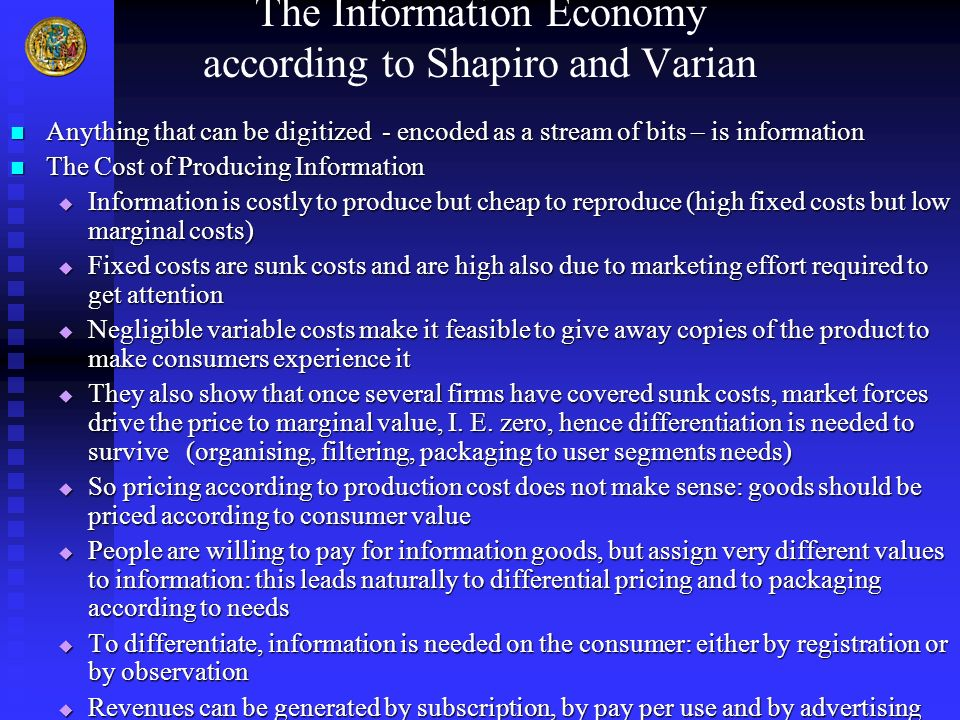 The Information Economy according to Shapiro and Varian