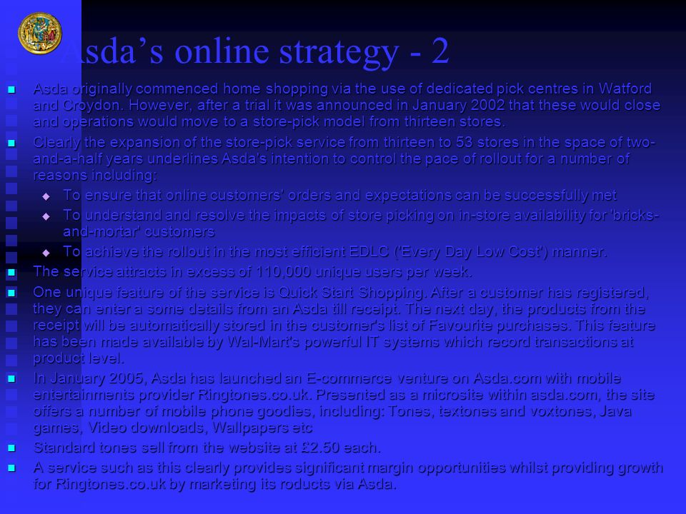 Asda's online strategy - 2